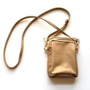 Handbags - Tan Canvas Mini Crossbody Canvas Triple Zip Bag